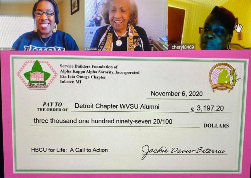 Detroit Alumni Chapter donation